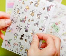 6 Sheets / Set Cute Kawaii Rabbit Cartoon Diy Scrapbooking Album Daily Stickerdecoration Stickers On Paper