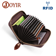 JOYIR Genuine Leather Card Wallet for Men Women Cowhide Business Card Holder RFID Wallet ID Credit Card Case High Quality Purse kavis brand cow genuine leather credit card holder 14 card slots men women business card purse id wallet travel for credit cards