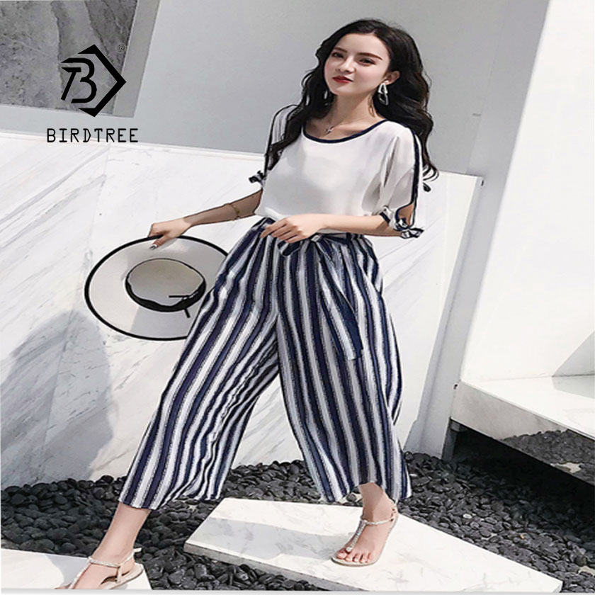 Summer Fashion Chiffon Shirt Holiday Style Suit Striped Wide Leg Pants Two-Piece S95001d