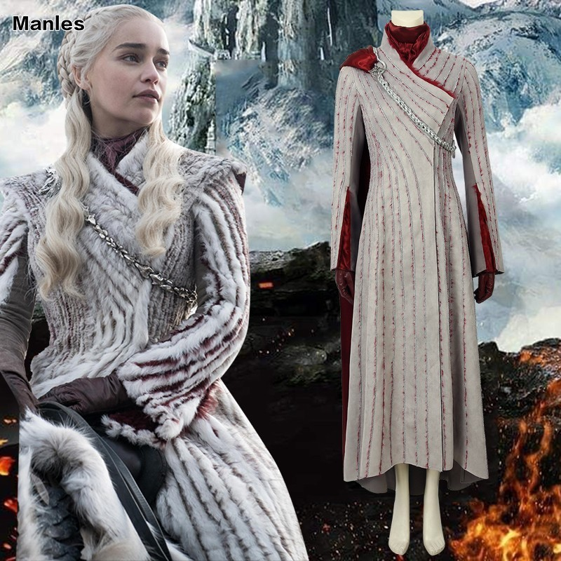 Daenerys Targaryen Costume Game Of Thrones Season 8 Cosplay Adult Winter Dragonstone Dress Halloween Carnival Party Cloak