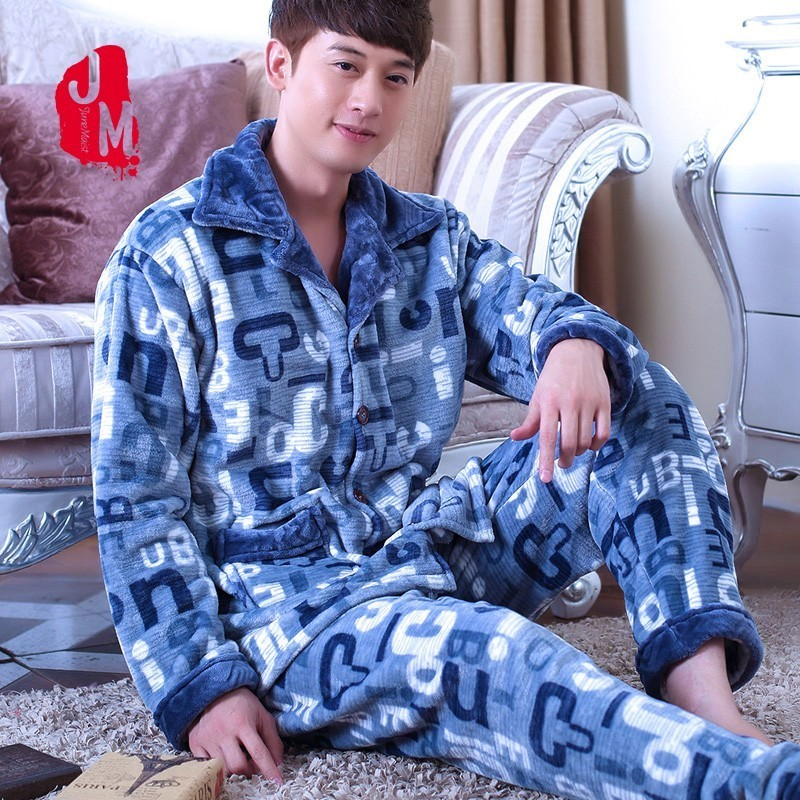 2018 Men Pajama Sets Coral Fleece Winter Thick Autumn Men Sleepwear Suit Long Sleeve Letter Pijama Man Homewear Pyjama Male XXXL