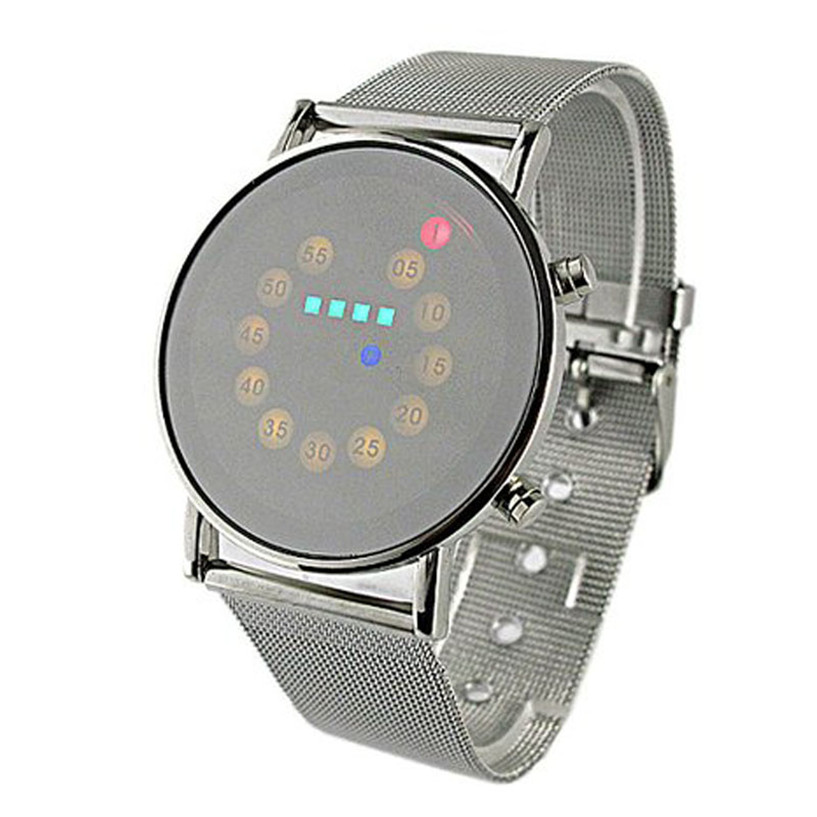 2018 Mens Sports Blue&multi-led Lights Ball Display Silver Mesh Stainless Steel Band Digital Week Date Women Wrist Led Watch A3 Watches