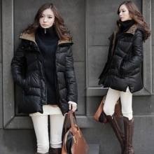 Black Color White Duck Down Winter Jacket Women Nice New Europe Long Winter Coat Women Warm Hood Parka Plus Size XS-XXXL AW1182