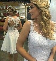 Vestidos de Noiva индивидуальный заказ Короткие мини Белое кружево линия Свадебное платье 2018 дешевые Лидер продаж Robe de mariage