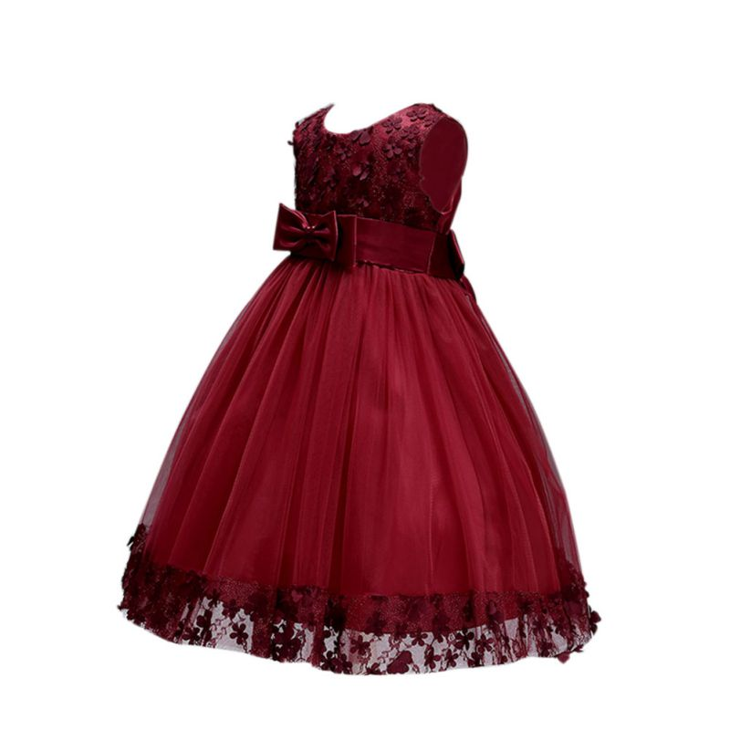 Kids Girl Flower Bow Dresses Baby Girl Sweet Cute Dress Prom Princess Party Dresss Summer Children Clothing
