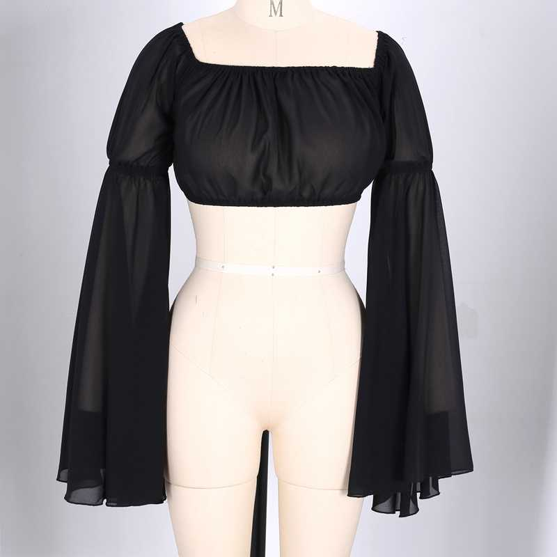 Ocstrade Горячая Новая мода черный короткий топ 2019 для женщин с длинным рукавом открытыми плечами пикантные летние уличная