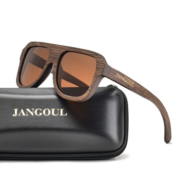 771665d049 JANGOUL Brown Wooden Sunglasses Men Women Polarized Bamboo Sun Glasses  Mirror Goggle Square Eyewear 058