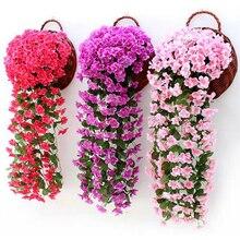 Искусственные фиолетовые цветы, висит Плющ завод поддельные шелковые Стены корзина глицинии Орхидея для свадьбы дома и сада балкон цветочный Decora