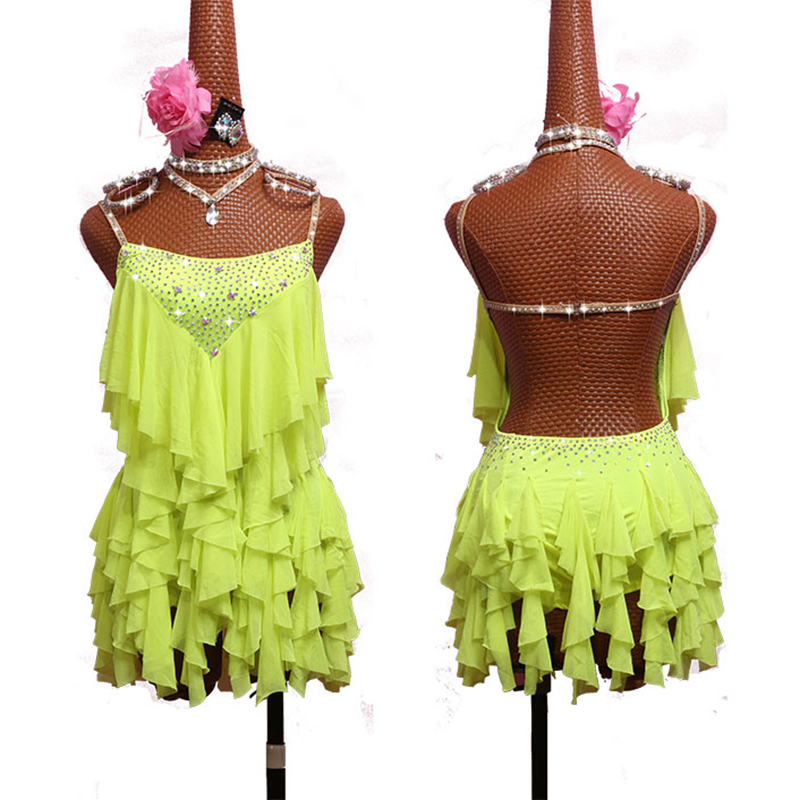 New Sexy Latin Dancing Dresses For Ladies Yellow Dress Traditional Women Ballroom Costume Competitive Theatrical Garments E001