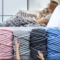 500g Super Thick Cored Cotton Chunky Bulky DIY Arm Hand Knitting Wool Alternative Blanket Spin Yarn Washable