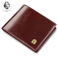 Laorentou Men Wallet Cow Leather Purse Brand Soft Short Wallets Large Capacity Card Holder ID Card Bank Card Case Gift for Man
