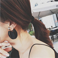 Big Fashion catwalk modern Big acrylic black round Stud Earrings Metal ball double Large Earrings Pierce double face