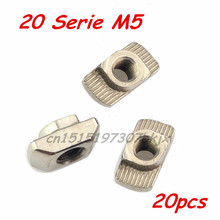 M5 T Nut Hammer Nut Aluminum Connector T Fastener Sliding Nut Nickel Plated Carbon Steel for 2020 Aluminum Profile 20Pcs(China (Mainland))