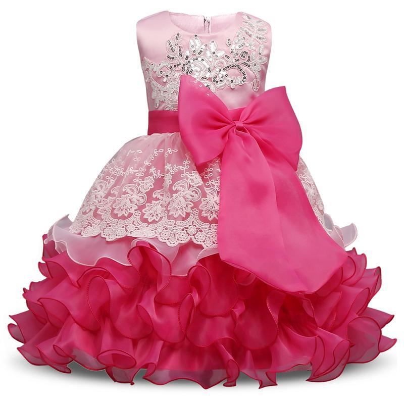 купить Evening Gown Flower Girl Formal Dresses Bow Lace Princess Wedding Dress Girls Clothes Kids Dresses Little Girls Clothing дешево