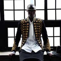 Hombre lentejuelas oro Bling Blazer de traje militar Bar abrigo chaqueta Color A19