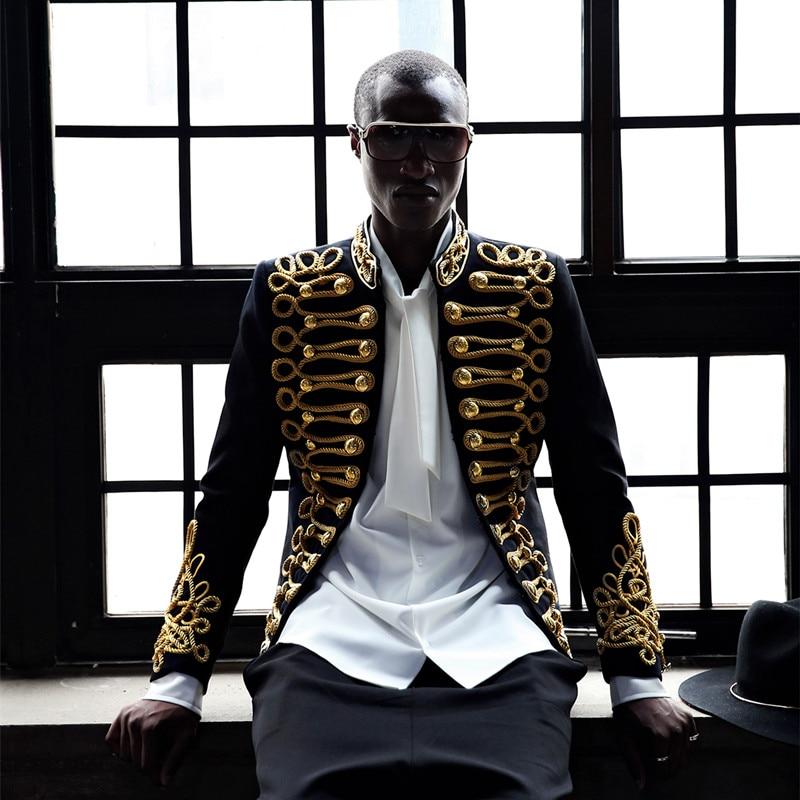 Mens Sequins Gold Bling Suit Blazer Military Bar Coat Jacket 3 Color A19