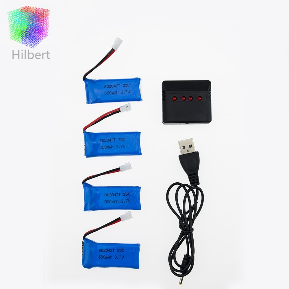 4Pcs <font><b>3.7V</b></font> 500mAh <font><b>Battery</b></font> RC Drone <font><b>Lipo</b></font> <font><b>Batteries</b></font> And 4 In 1 <font><b>Charger</b></font> For FPV H31 H37 Hubsan X4 H107 H107L H107C H107D H107P image