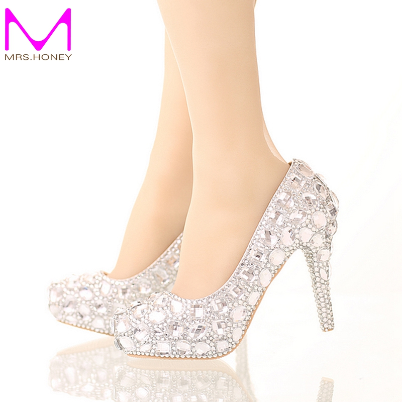 Bride Crystal Shoes  Rhinestone Wedding Shoes Silver High Heel Platform Event Shoes Women Handmade Fashion Party Dress Shoes lavender bride shoes high heel platform shoes with lace flower rhinestone wedding shoes spring women pumps for prom event