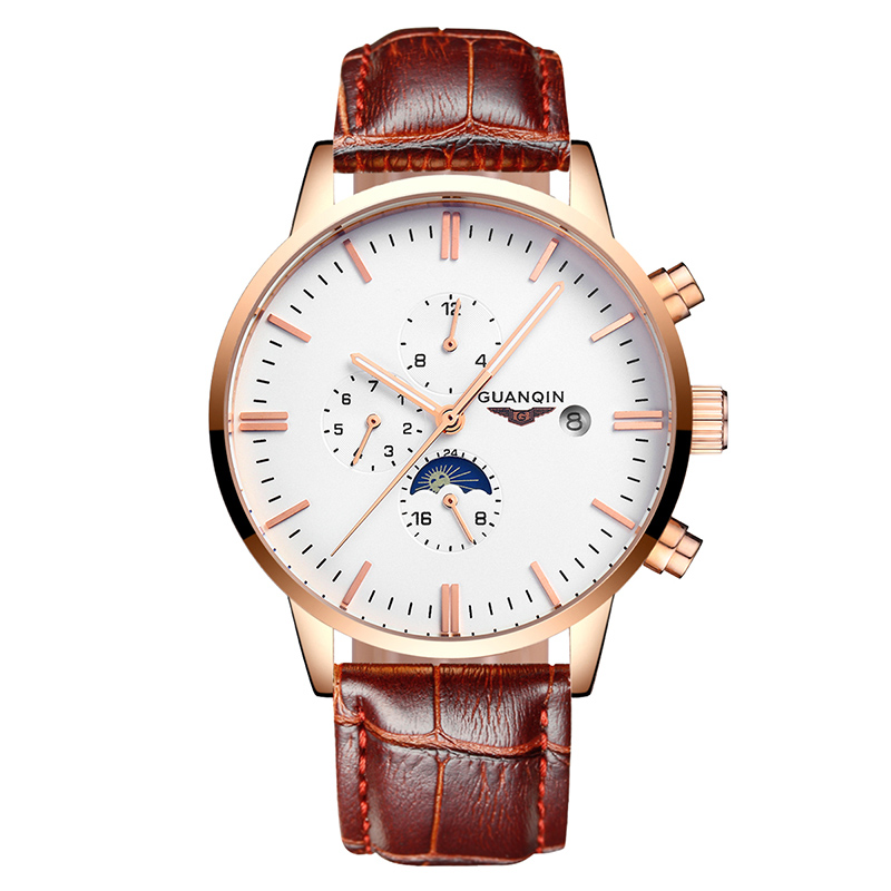 Original Guanqin new Sport Watch Top Brand luxury Automatic Watch Men Multifunction Month Week Date 24hours mechanical watches orkina luxury brand automatic mechanical men s watch black brown leather strap wrist watch gifts auto date week month display