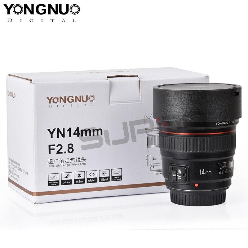 Nouveau arrivé, objectif d'appareil photo Ultra grand Angle YONGNUO YN14mm AF MF F2.8 pour Canon 60d 600d 1300d t5i 6d 550d 70d eos 1300d 7d