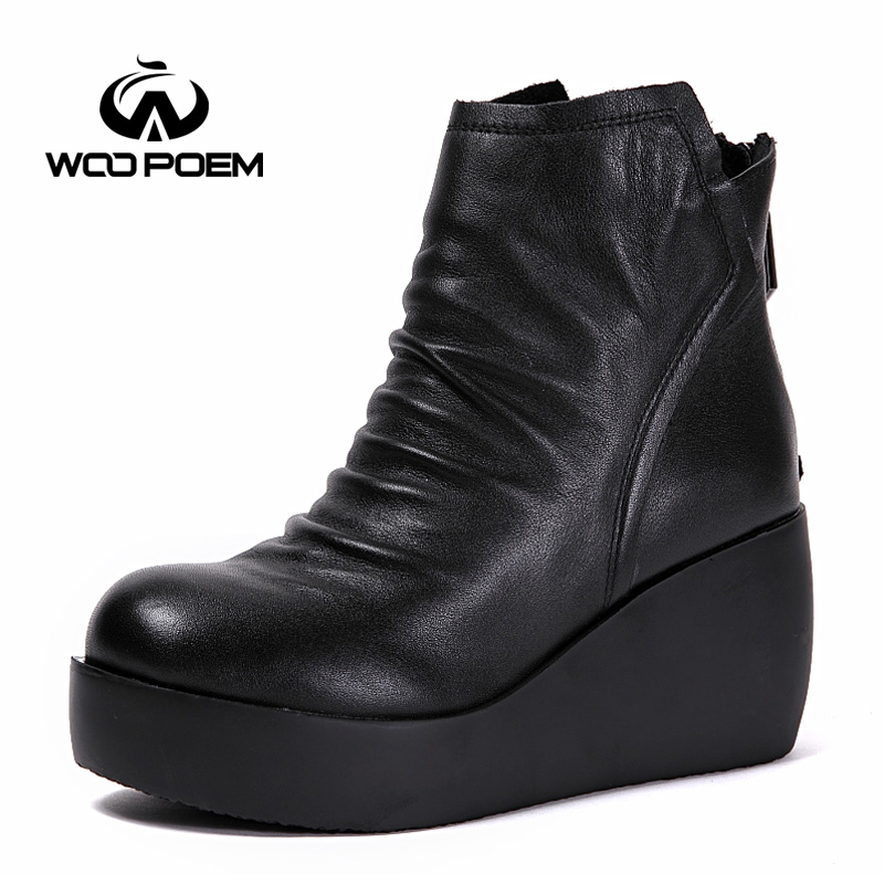2017 Winter Shoes Woman Cow Leather Boots High Heel Ankle Boots Platform Classic Height Increasing Women