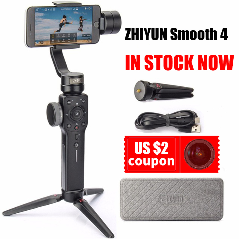 Instock Zhiyun Smooth 4 3 Axis Handheld Gimbal Auto focus Stabilizer for iPhone X Gopro Hero sjcam cam xiaomi PK Smooth Q ulanzi zhiyun smooth q handheld 3 axis smartphone gimbal video stabilizer for iphone 7 samsung gopro hero 5 4 sjcam yi cameras