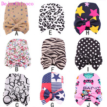 Hot Sale Cute Bowknot Soft Baby Hat Unisex Knitting Cap 0-6Months Newborn Photography Props Girls Infant Cap Set  DejorChicoco