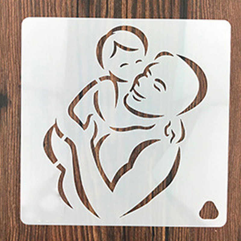 Baby Kiss Father Stencils for DIY Scrapbooking Plastic Handmade Template  Crafts Art Diary Decor Painting Drawing Spray Tool Card