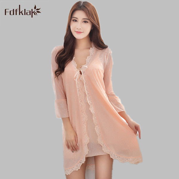 d10d99d573 High quality spring summer robe sexy dressing gowns for women 2 pieces robe  gown sets female sleepwear robes bathrobe set E0251-in Robes from Underwear  ...