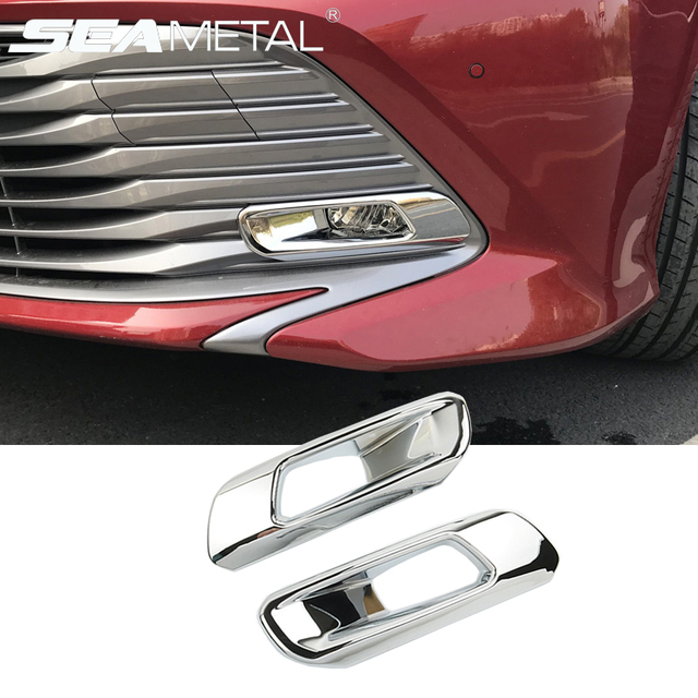 For Toyota Camry 2018 2019 Xv70 Car Front Fog Light Covers Sticker Trim Abs Chrome Ber Cover Accessories