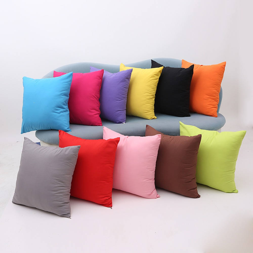 1 Pcs 45 * 45 cm Warna Solid Polyester Lembut Lempar Bantal Sarung Bantal Dekorasi Rumah Sofa Bed Decor Sarung Bantal 40454