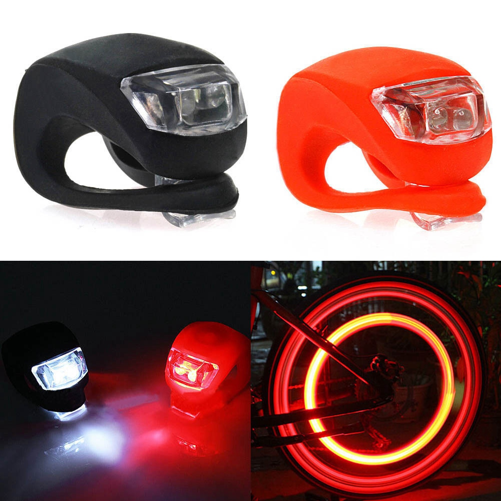 New 2 Pcs Silicone Bicycle Bike Cycle Safety LED Head Front And Rear Tail Light Set
