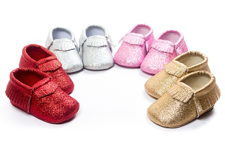 wholesale 60pairs New metallic Newborn Cute Baby Boys Girls shoes Toddler  Infant Tassel baby Moccasins Christmas Gift 0 18M-in First Walkers from  Mother ... 0470de9d63a2
