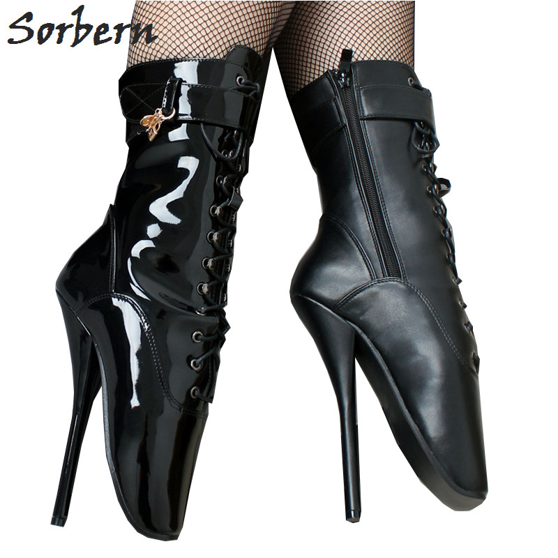 Sorbern Ballet Pointe Boots Fetish Pinup Ballet Zipper Lace-up Ankle Boots  For Women Shoes 18cm Extrem High Heel Stand On Toe 6abe24f055f2