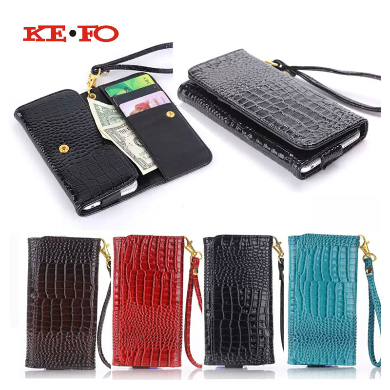 KEFO 5.5 Inch Universal Phone Case For Jiayu S3 Plus Jiayu G6 Wallet Crocodile PU Leather Cases Cover with Card Slot