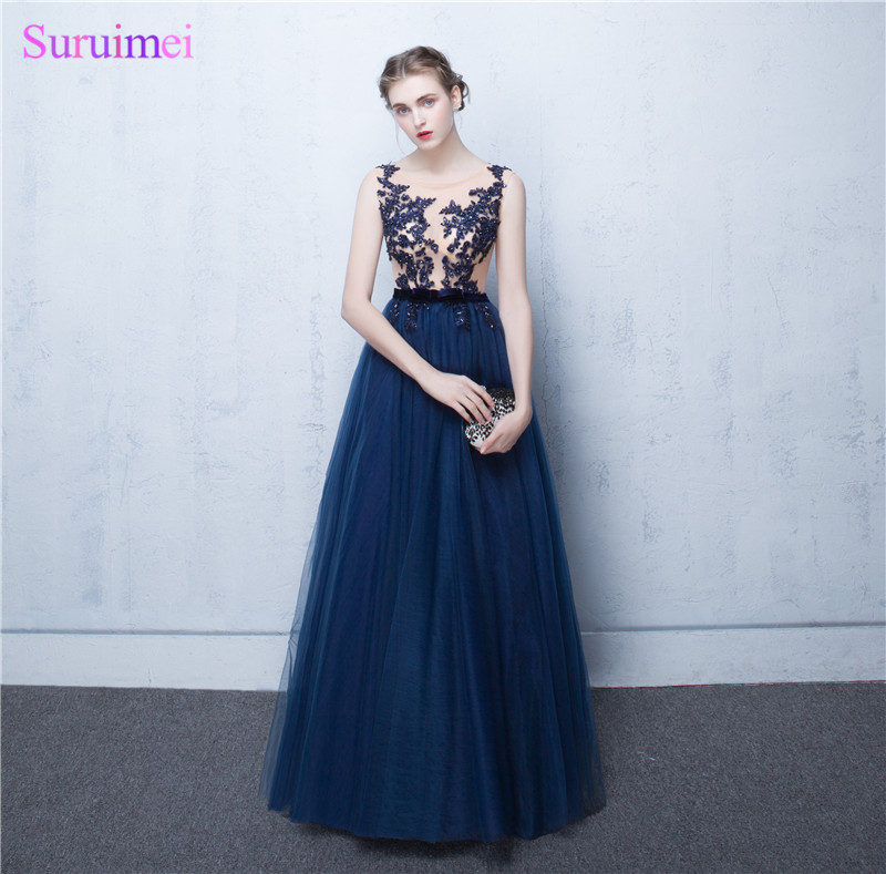Elegant A-Line Navy blue Chiffon Evening Dresses 2017 With Appliques Lace And Beaded Nude See Through Long Evening Gown