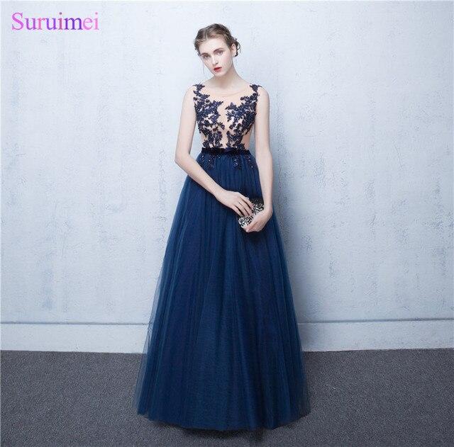 Elegant A Line Navy blue Chiffon Evening Dresses 2017 With Appliques ...