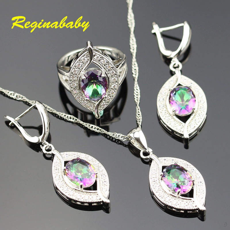 Colourful 925 Logo Crystal Rainbow Jewelry Set For Women Silver White Crystal Rings/Earrings/Necklace/Pendant