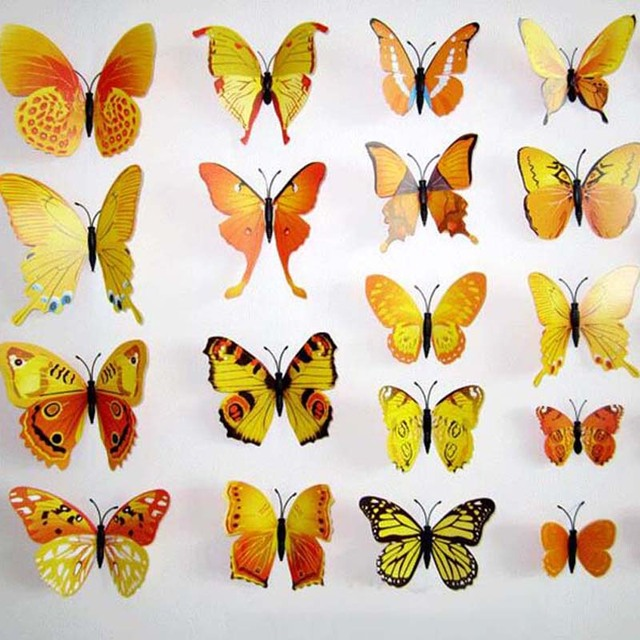 12Pcs PVC Yellow Butterfly 3D Wall Stickers Butterfly Wall Decals For Kids Room TV Wall Sticker  sc 1 st  AliExpress.com & 12Pcs PVC Yellow Butterfly 3D Wall Stickers Butterfly Wall Decals ...