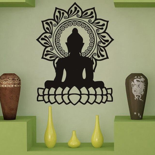 Buddha Wall Stickers Indian Design Lotus Flower Vinyl Stickers ...