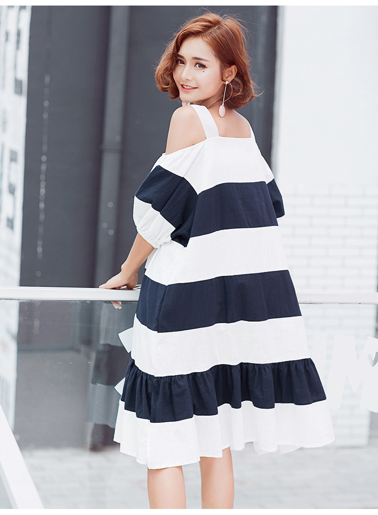[GUTU] 2017 Summer fashion new slash neck large size hit color stripes bubble sleeves lotus leaf harness dress women V37417 9