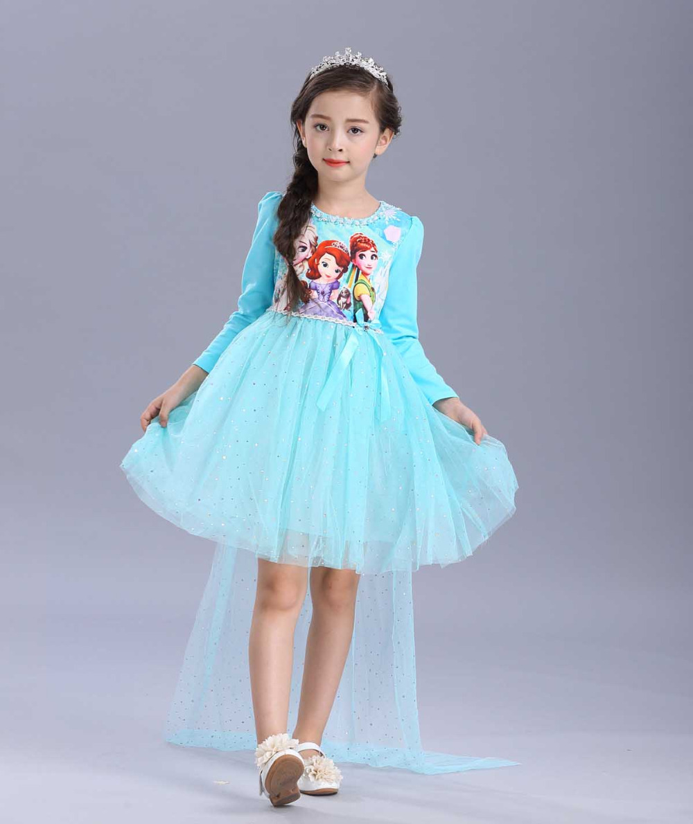 Multicolor 2017 New Designs Custome Anna Elsa Princess Dresses For Cinderella Girls Kids ...