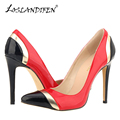 LOSLANDIFEN New Sexy Pointed Toe Women Pumps Fashion Mix Color Thin High Heels Shoes Woman Stitching Wedding Party Shoes