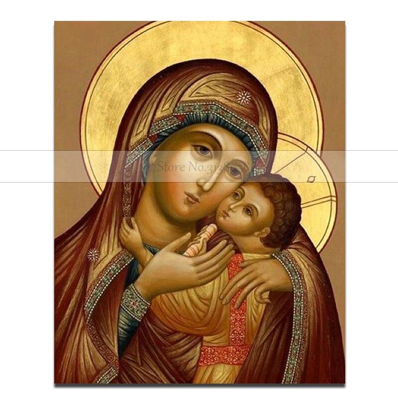 100% à la main Urijk sans cadre peinture à l'huile vierge marie jésus mur Art orthodoxe icône Religi peinture à l'huile modulaire peinture-in Peinture et calligraphie from Maison & Animalerie    1
