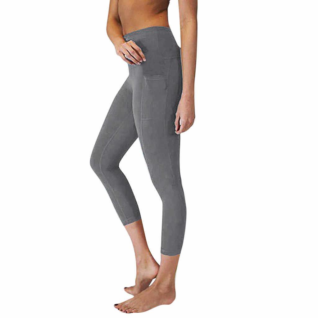 0db44596ad Perimedes Women's High Waist Yoga Pants Pockets female ladies Tummy female  Workout Running Sports Leggings#