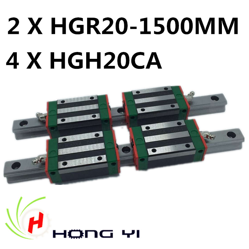 Ev Dekorasyonu'ten Doğrusal Kılavuzlar'de HIWIN Lineer Kılavuz HGR20R 1500mm ray ile 4 adet HGH20 CA Dar Tip blokları 100% Yeni title=
