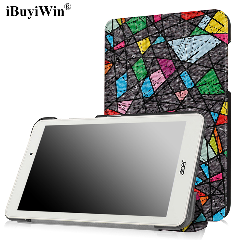 iBuyiWin Folding Case for Acer Iconia One 8 B1-850 8.0 Tablet Funda Cases PU Leather Slim Stand Flip Cover+Screen Protector+Pen slim print case for acer iconia tab 10 a3 a40 one 10 b3 a30 10 1 inch tablet pu leather case folding stand cover screen film pen
