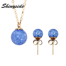 2017 summer new fashion brand jewelry set candy color stud earrings for women statement gift necklaces&pendant free shipping