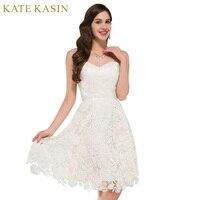 שנהב חתונת שמלות חוף סגנון וינטג 'תחרה קצרה שמלות כלה כלה חתונה שמלת חלוק דה Mariee 0118