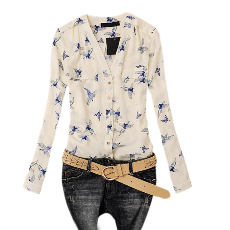 Summer Print Flying Birds Chiffon Blouse Slim Womens Shirt Top Blusas 2018 Women Ladies Button Shirt V-Neck Long Sleeve Clothes